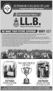 Admission Superior College of Law 2019 for LLB & Post Graduate