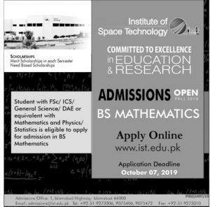 Admissions Institute of Space Technology IST 2019 for BS Mathematics