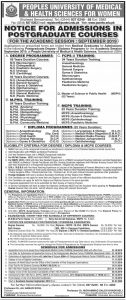 Admissions Peoples University of Medical & Health Science for Women 2019 for Post Graduate