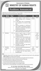 Ministry of Human Rights Jobs 2019 for Chairperson and Members
