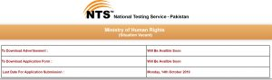Ministry of Human Rights NTS Jobs 2019 Latest