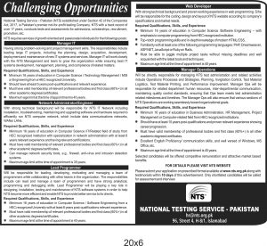 NTS Jobs 2019 National Testing Service for Manager IT, Manager Operation