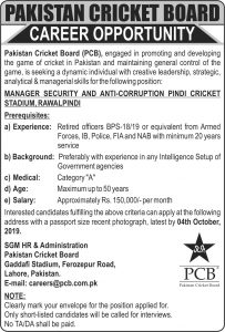 PCB Jobs 2019 Pakistan Cricket Board  for Manager Security