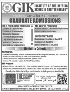 GIK Admissions 2019 for Graduate Institute of Engineering Sciences and Technology