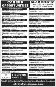 Holistic Medical Group Jobs 2019, Walk in Interview