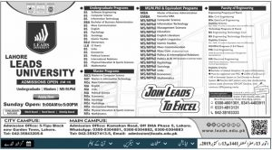 Lahore Lead University Admission 2019 for Under Graduate and Master