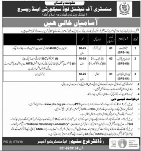 Ministry of National Food Security and Research Jobs 2019 for Stenotypist, LDC