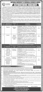 NUMS Jobs 2019, National University of Medical Sciences for Registrar, Finance