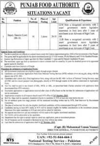 Punjab Food Authority NTS Jobs 2019 for Deputy Director Law
