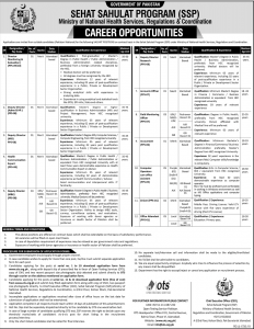 Sehat Sahulat Program SSP OTS Jobs 2019, Ministry of National Health Services
