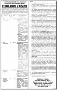 State Agriculture Department Jobs 2019 for Plant Pathologist, Food Technologist