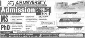 Comsats Admissions Spring 2020 Comsats University Islamabad.