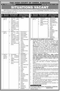 Data Processing, Assistant and Reader Jobs 2019 at High Court of Sindh