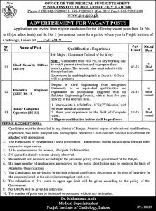 Executive Engineer, Computer Operator Jobs 2019 at Punjab Institute of Cardiology Lahore