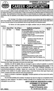 Finance Department Jobs for The Tax Collector, Officer Tax, Unit Head