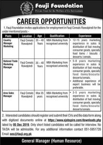 Finance Officer, Sales Manager Jobs 2019 at Fauji Foundation