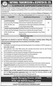 Land Consultant,National Transmission and Dispatch Company Jobs NTDCL