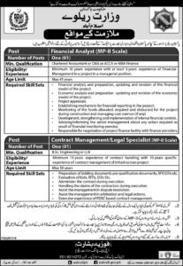 Pakistan Railway Jobs 2019, Legal Specialist, Financial Analyst