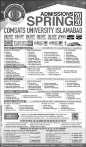 Admission Comsats University Islamabad Spring 2020, Graduate, Under Graduate and PhD, Online Apply