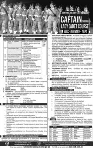Army Jobs 2020, Join Pakistan Army as Captain Through Lady Cadet Course