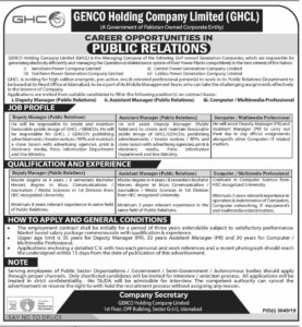 Deputy Program Manager, Assistant Manager, Computer Professional, Genco Holding Company Ltd Jobs 2019