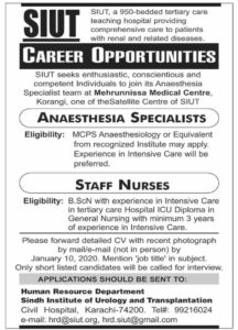 Hospital Jobs 2020 at Human Resources Department Sindh for Anesthesia and Staff Nurse