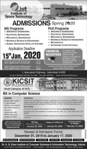 IST Spring Admissions 2020 Institute of Space Technology Islamabad, MS, PhD Program