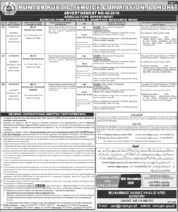 PPSC Advertisement No. 402019, Agriculture Department, Office of Human Rights, Department of Population Health