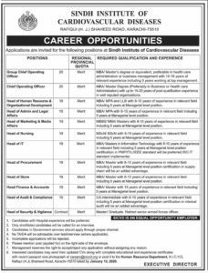 Sindh Institute of Cardiovascular Diseases Jobs 2020, Chief Operating Officer, Head of IT and more