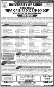 Sindh University Admission 2020, MS, M.Phil. PhD Progamme