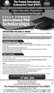Chief Minister Merit Scholarship (CMMS) Program 2020, Fully Funded International PhD Scholarships, Download Form