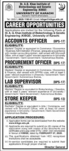 Dr. A. Q. Khan Institute of Biotechnology and Genetic Engineering Karachi Jobs 2020, Accounts Officer, Lab Supervisor, Procurement Officer