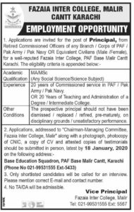 Fazaia Inter College Malir Cantt Karachi Jobs 2020 for Principal of Retired Commissioned PAF/navy