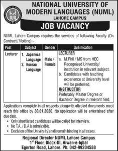 Naml University Lahore Jobs 2020 for Lecturer as a Japanese Language and Korean Language, Male & Female