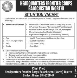 Retired Military Pilots jobs 2020 at Head Quarter Frontier Corps Baluchistan (North)