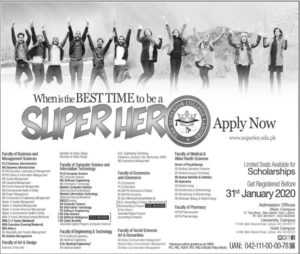 Superior College Lahore Admissions Spring 2020, PhD, BS, Pharm.D, DPT, Scholarship