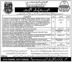 Tevta Jobs Bahawalnagar 2020, Technical Education & Vocational Training Authority for Instructor