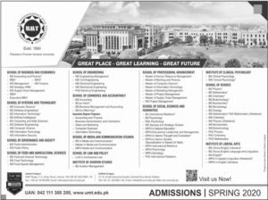 UMT Admissions Spring 2020, Online Apply, Master, Bachelor, BS, PhD and M.Phil Programs