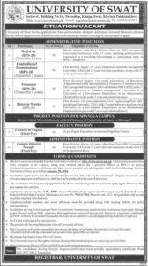 University of Swat KPK Jobs 2020, Lecturer, Registrar, Controller of Examination, Treasurer
