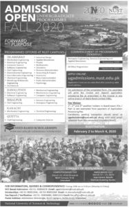 Admissions NUST University 2020 for Undergraduate at Islamabad, Rawalpindi, Risalpur, Karachi and Quetta