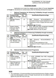 Agri Department Jobs 2020 for Manager Finance, System Aynalyst, Data Management Officer