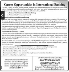 Career Opportunity in International Banking 2020