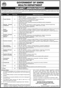 Health Department Sindh Jobs 2020 for Project Director, Manager System & Network and more