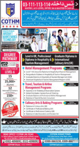 Hotel Management Degree, Air Travel Management, Travel and Tourism at COTHM  Admissions 2020