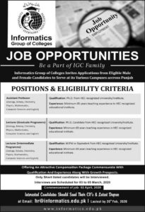 Informatics Group of Colleges Punjab Jobs 2020  Download Application Form