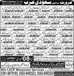 Jobs in Saudi Arabia 2020 at Saraco.co Limited Dammam for AC Technician, Auto Electrician and much more