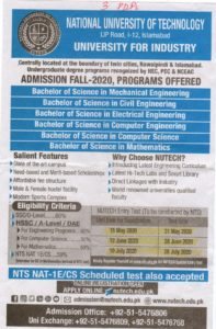 National University of Sciences and Technology NTS NUTECH Admission 2020