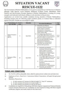 Rescue 1122 KPK PTS Jobs 2020 | Download Application Form | Directorate General Emergency Service