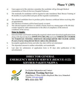 Rescue 1122 KPK PTS Jobs 2020 Download Application Form Directorate General Emergency Service