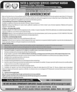 Water & Sanitation Service Company Mardan NTS Jobs 2020 for Assistant Manager, IT Officer
